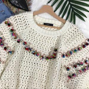 Zara • Oversized Pom Trim Sweater